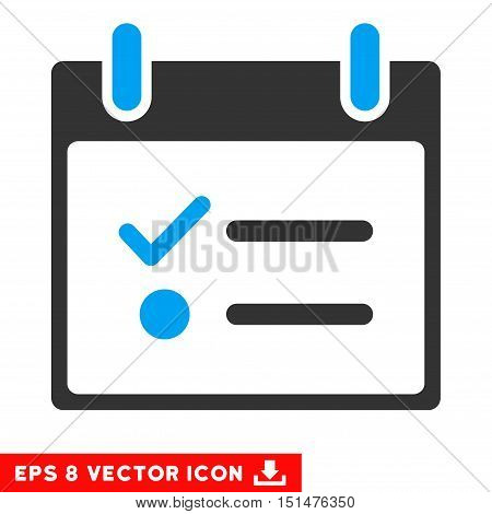 Todo List Calendar Day icon. Vector EPS illustration style is flat iconic bicolor symbol, blue and gray colors.