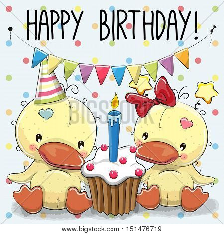 Greeting card two cute Cartoon Ducks with cake