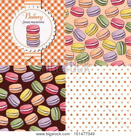 Bakery shop  macaroon collection. Paper label and seamless patterns with Gingham, Polka Dot and Macaroons on dark and light background.