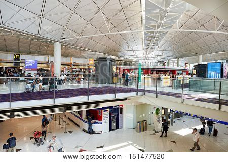 HONG KONG - NOVEMBER 03, 2015: inside of Hong Kong Airport. Hong Kong International Airport is the main airport in Hong Kong. It is located on the island of Chek Lap Kok.