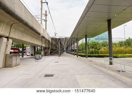 HONG KONG - NOVEMBER 03, 2015: Hong Kong Airport Bus Terminus in the daytime. Hong Kong International Airport is the main airport in Hong Kong. It is located on the island of Chek Lap Kok.