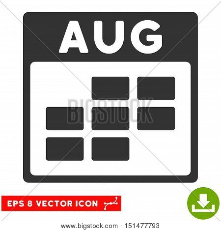 August Calendar Grid icon. Vector EPS illustration style is flat iconic symbol, gray color.