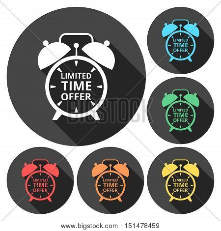 Limited time offer on alarm clock icons set with long shadow