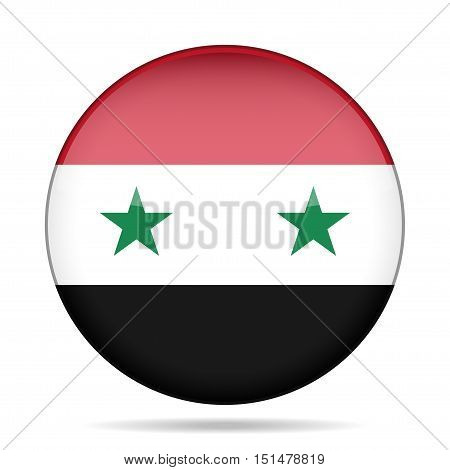 National flag of Syria. Shiny round button with shadow.