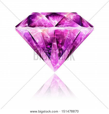 Design Element Bright Glossy Pink Gemstone Ruby