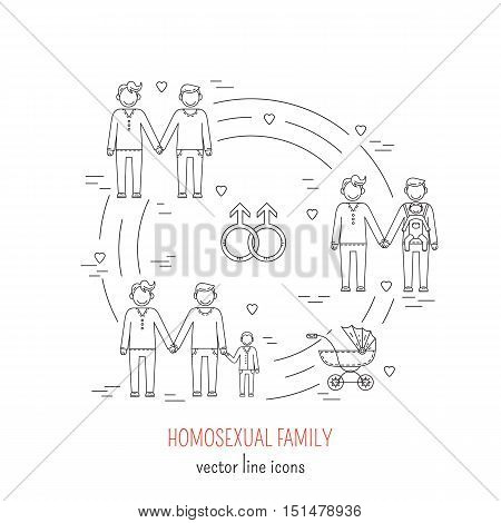 Nontraditional family line icons composition gay  homosexual couples. Vector illustration.