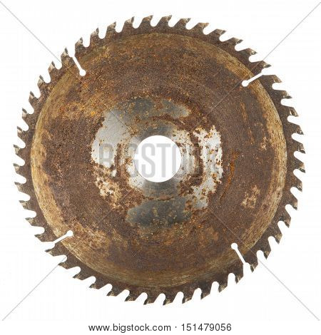 old rusty disk circular saw isolated on white background