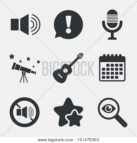 Musical elements icons. Microphone and Sound speaker symbols. No Sound and acoustic guitar signs. Attention, investigate and stars icons. Telescope and calendar signs. Vector