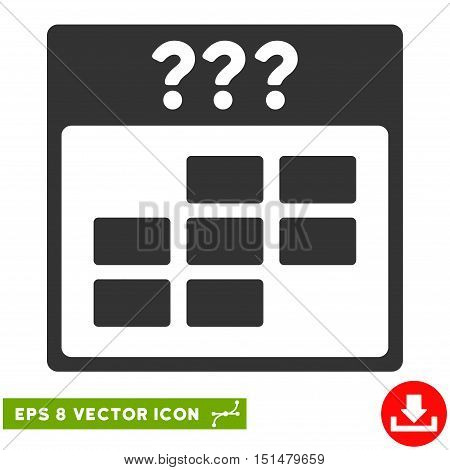 Unknown Month Calendar Grid icon. Vector EPS illustration style is flat iconic symbol, gray color.