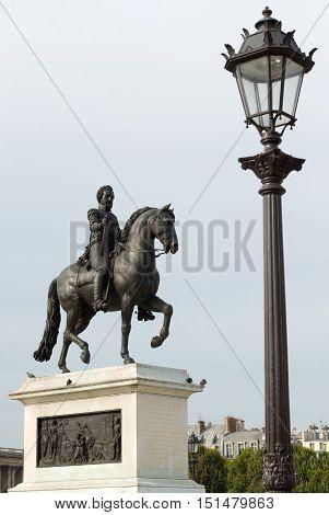Equestrian Statue Of Henri Iv In Paris, France.