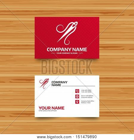 Business card template. Needle with thread icon. Tailor symbol. Textile sew up craft sign. Embroidery tool. Phone, globe and pointer icons. Visiting card design. Vector