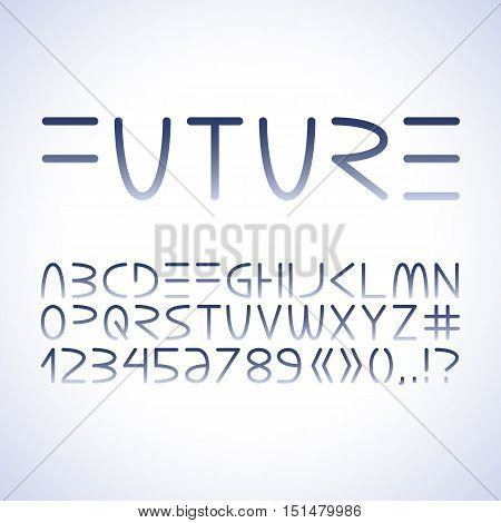 Vector futuristic minimalistic alphabet. Letters and numerals isolated on white background.