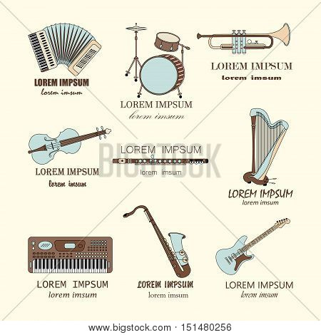 Vector thin line music logos: synthesizer, drums, accordion, violin, trumpet, harp, drum, saxophone, electric guitar, flute.