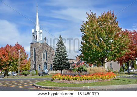 GRANBY QUEBEC CANADA 10 12 2016 : Saint Eugene church and Immaculee-Conception founded in 1941 for the pope Eugene 1st