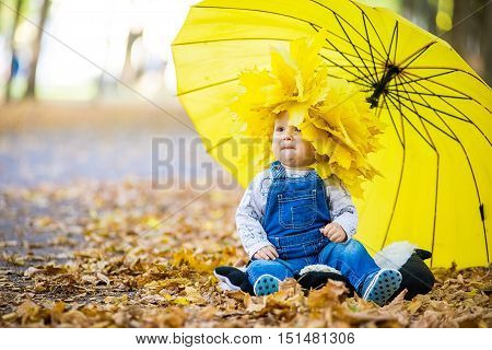 Happy kid sitting in yellow leaves under a yellow umbrella. Walking baby in autumn park. Little boy in autumn park under yellow umbrella.