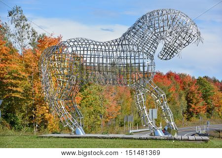 BROMONT QUEBEC CANADA 10 12 2016: By Mathieu Isabelle new statue in Bromont. The home of the Parc equestre Olympique de Bromont, equestrian olympic park.