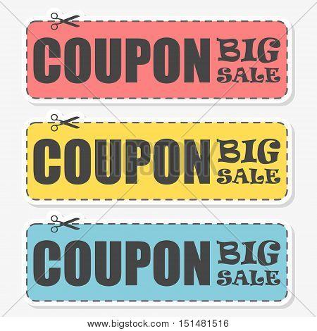 Coupon design, Sale icon, Shopping concept, sticker set