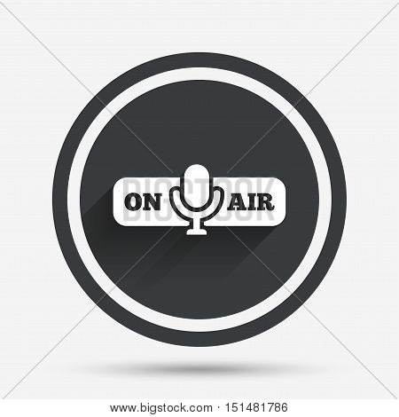 On air sign icon. Live stream symbol. Microphone symbol. Circle flat button with shadow and border. Vector
