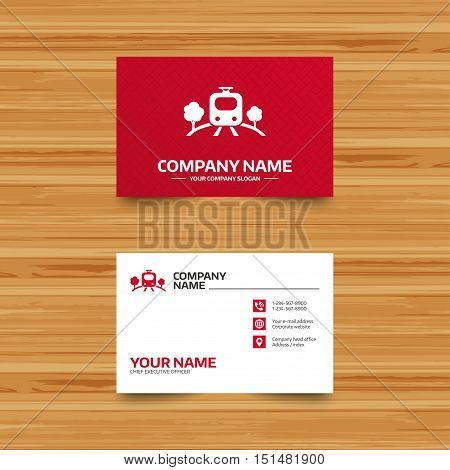 Business card template. Overground subway sign icon. Metro train symbol. Phone, globe and pointer icons. Visiting card design. Vector