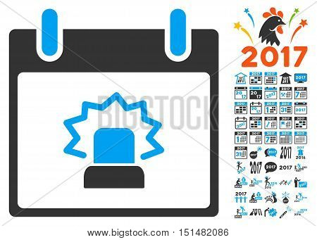 Alert Calendar Day pictograph with bonus calendar and time management graphic icons. Vector illustration style is flat iconic symbols, blue and gray colors, white background.
