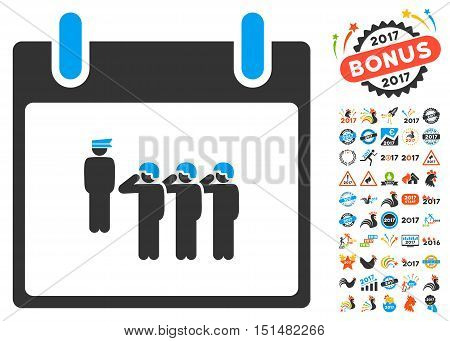 Army Squad Calendar Day pictograph with bonus calendar and time management pictograph collection. Vector illustration style is flat iconic symbols, blue and gray colors, white background.
