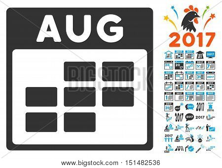August Calendar Grid pictograph with bonus calendar and time management graphic icons. Vector illustration style is flat iconic symbols, blue and gray colors, white background.