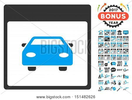 Automobile Car Calendar Page pictograph with bonus calendar and time management pictograph collection. Vector illustration style is flat iconic symbols, blue and gray colors, white background.