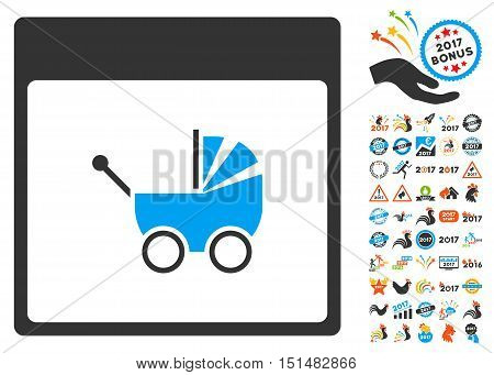 Baby Carriage Calendar Page pictograph with bonus calendar and time management clip art. Vector illustration style is flat iconic symbols, blue and gray colors, white background.