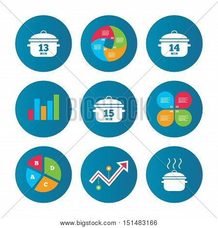 Business pie chart. Growth curve. Presentation buttons. Cooking pan icons. Boil 13, 14 and 15 minutes signs. Stew food symbol. Data analysis. Vector