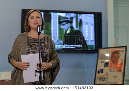 ST. PETERSBURG, RUSSIA - OCTOBER 7, 2016: Olga Semyonova during the opening of exhibition dedicated to 85th anniversary of her father, bestselling author Julian Semyonov in the Presidential library