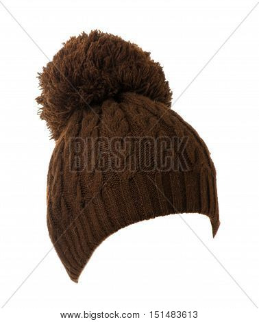 Knitted Hat Isolated On White Background .hat With Pompon Brown