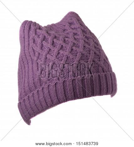 Women's Knitted Hat Isolated On White Background.purple