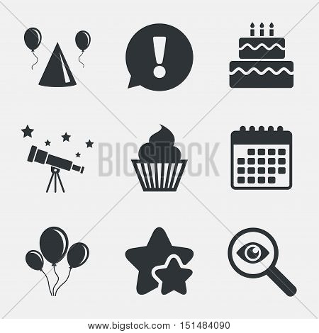 Birthday party icons. Cake, balloon, hat and muffin signs. Celebration symbol. Cupcake sweet food. Attention, investigate and stars icons. Telescope and calendar signs. Vector