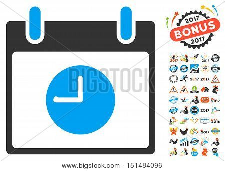 Clock Calendar Day pictograph with bonus calendar and time management design elements. Vector illustration style is flat iconic symbols, blue and gray colors, white background.