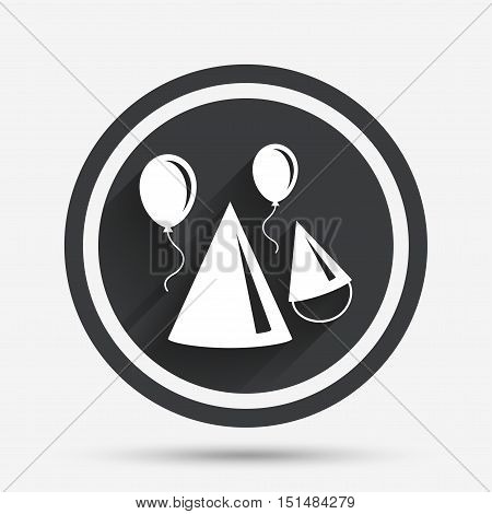 Party hat sign icon. Birthday celebration symbol. Air balloon with rope. Circle flat button with shadow and border. Vector