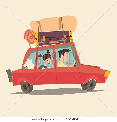 Traveling by car. Father driving car. Happy family summer vacations. Tourism cartoon character family. Family trip. Travel with dog flat style vector illustration. Isolated on white background