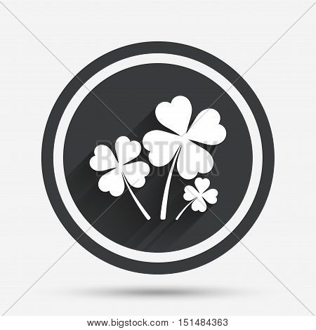 Clovers with four leaves sign icon. Saint Patrick symbol. Circle flat button with shadow and border. Vector