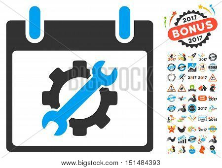 Configuration Tools Calendar Day icon with bonus calendar and time management design elements. Vector illustration style is flat iconic symbols, blue and gray colors, white background.