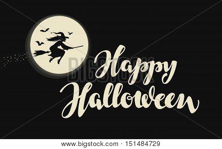Happy Halloween banner, greeting card. Vector illustration