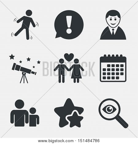 Businessman person icon. Group of people symbol. Man love Woman or Lovers sign. Caution slippery. Attention, investigate and stars icons. Telescope and calendar signs. Vector