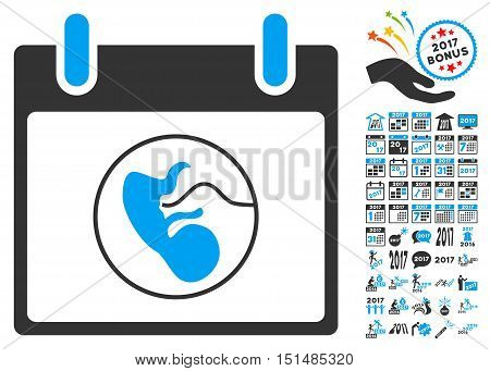 Embryo Calendar Day pictograph with bonus calendar and time management icon set. Vector illustration style is flat iconic symbols, blue and gray colors, white background.