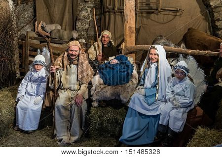 Canale Italy - December 26 2015: As every year the medieval town becomes a living Nativity scene. Next to the shepherds and the Holy Family revived ancient crafts and customs of the past.