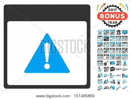 Error Calendar Page pictograph with bonus calendar and time management pictogram set. Vector illustration style is flat iconic symbols, blue and gray colors, white background.