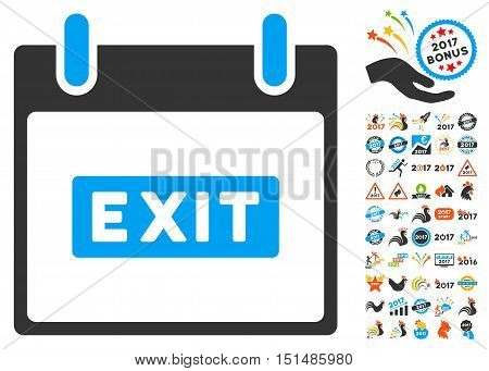 Exit Caption Calendar Day icon with bonus calendar and time management pictogram set. Vector illustration style is flat iconic symbols, blue and gray colors, white background.