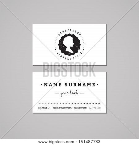 Barbershop (hair salon) business card design concept. Logo-badge with african american woman profile. Vintage hipster and retro style. Black and white.