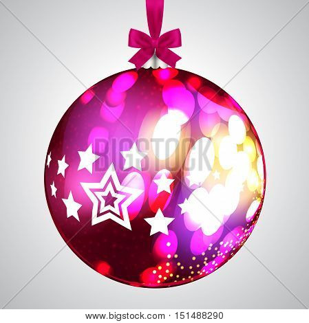 Pink Christmas Ball On Light Background, Vector Illustration