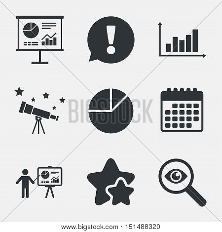 Diagram graph Pie chart icon. Presentation billboard symbol. Supply and demand. Man standing with pointer. Attention, investigate and stars icons. Telescope and calendar signs. Vector