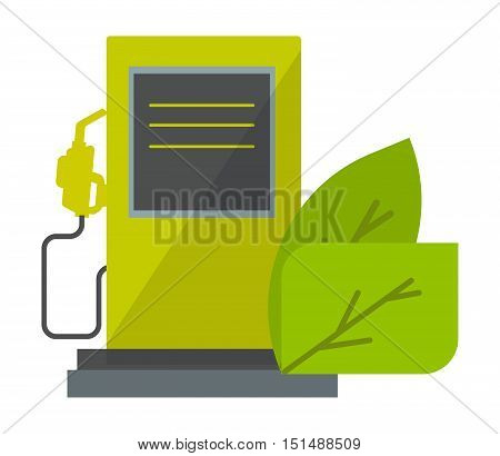 Green energy icon detailed vector illustration. Ecology oil green power industrial vector petroleum. Power concept plant nature icon symbol ecology oil production pollution liquid.