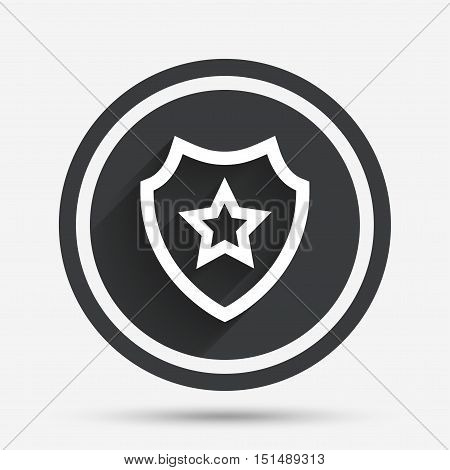 Shield with star icon. Favorite protection symbol. Circle flat button with shadow and border. Vector