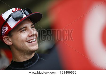 Concord, NC - Oct 06, 2016: Ryan Reed (16) hangs out in the garage during practice for the Drive for the Cure 300 at the Charlotte Motor Speedway in Concord, NC.